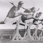 vintage photograph of women hurdlers